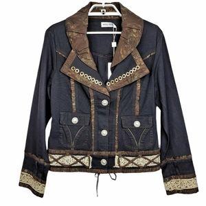 Nicola Berti Art to Wear Jacket Boho Style Black